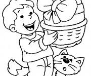 Coloriage Enfant et son Chat avec L'oeuf de Pâques