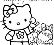 Coloriage et dessins gratuit Hello kitty Pâques à imprimer