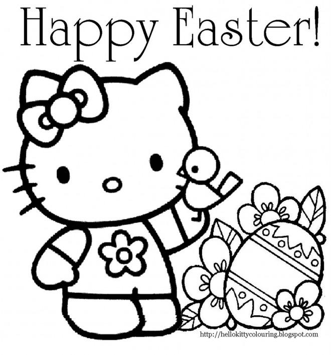 Coloriage Hello Kitty Pâques Dessin Gratuit à Imprimer