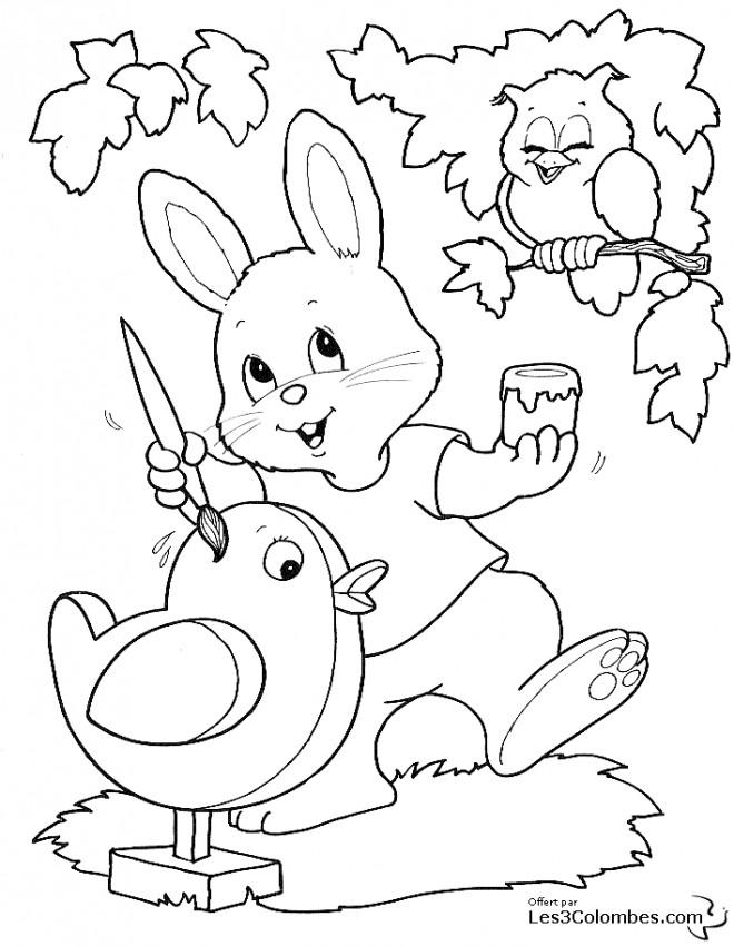 Coloriage et dessins gratuits Image Animaux de Pâques à imprimer
