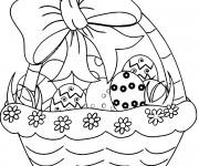 Coloriage Joli Panier d'oeufs de Pâques