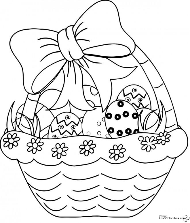 Coloriage et dessins gratuits Joli Panier d'oeufs de Pâques à imprimer