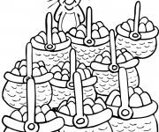 Coloriage Lapin avec des Paniers plein d'oeufs