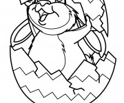Coloriage Lapin couvert par l'oeuf de Pâques