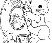 Coloriage Lapin de Pâques dessine un beau tableau