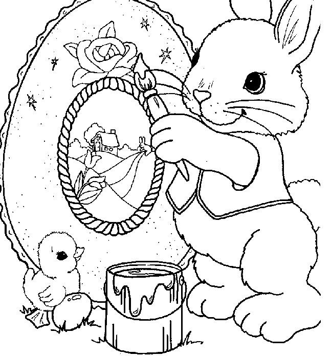 Coloriage et dessins gratuits Lapin de Pâques dessine un beau tableau à imprimer