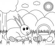 Coloriage Lapin de Pâques et la nature