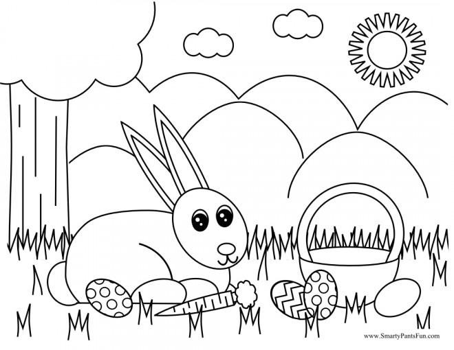 Coloriage et dessins gratuits Lapin de Pâques et la nature à imprimer