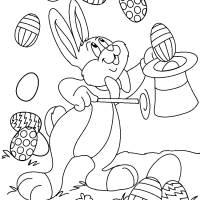Coloriage et dessins gratuit Lapin de Pâques facile à imprimer