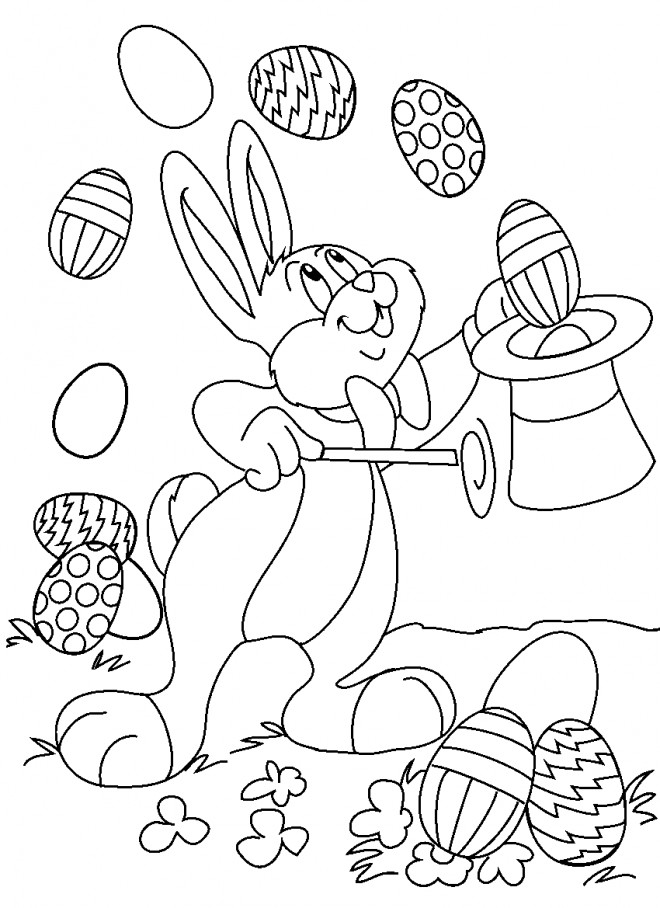 Coloriage et dessins gratuits Lapin de Pâques facile à imprimer