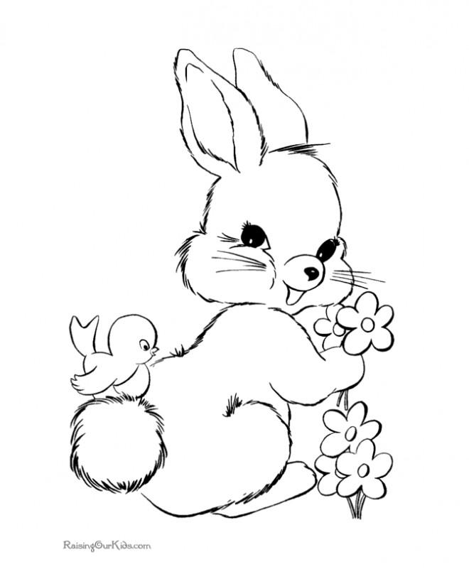 Coloriage et dessins gratuits Lapin de Pâques mignon à imprimer