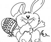 Coloriage Lapin de Pâques rigolo