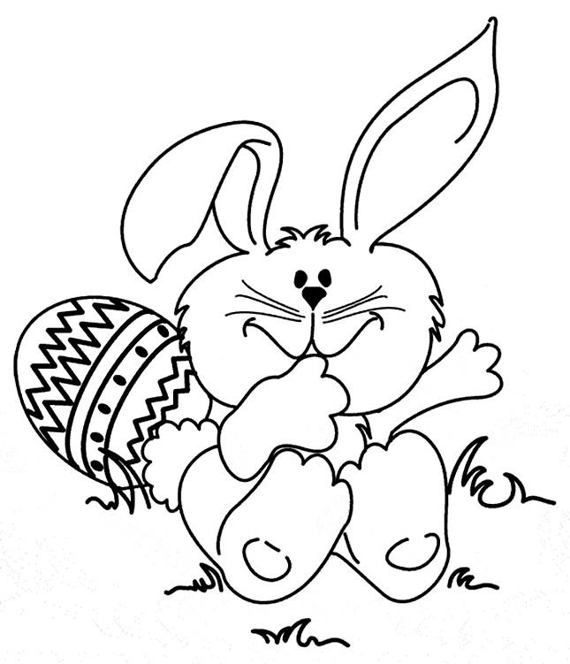 Coloriage et dessins gratuits Lapin de Pâques rigolo à imprimer