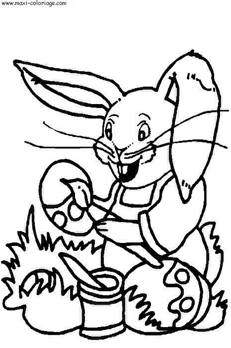 Coloriage et dessins gratuits Lapin drôle décore Les Oeufs à imprimer