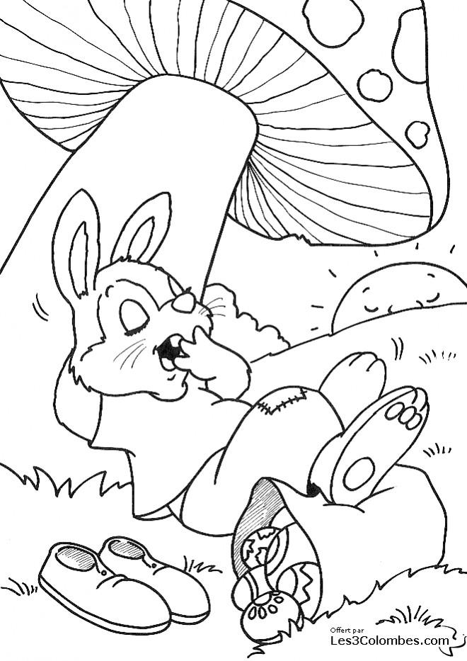 Coloriage et dessins gratuits Lapin paresseux avec des Oeufs de Pâques à imprimer