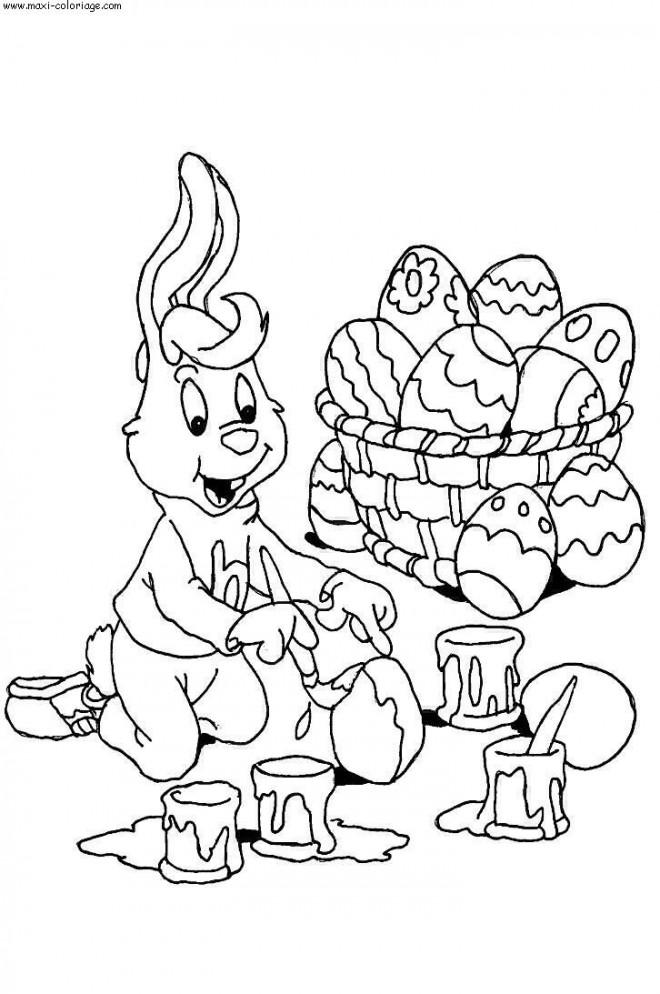 Coloriage et dessins gratuits Lapin peint L'oeuf de Pâques à imprimer
