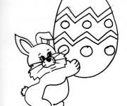 Coloriage et dessins gratuit Lapin Portant Oeuf de Pâques à imprimer
