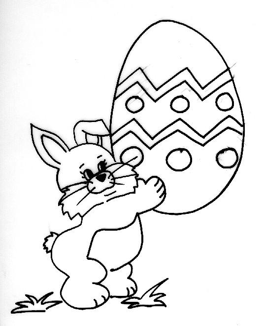 Coloriage et dessins gratuits Lapin Portant Oeuf de Pâques à imprimer