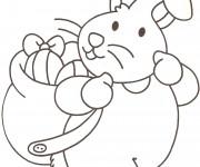 Coloriage Lapin porte sur son dos les Oeufs de Pâques