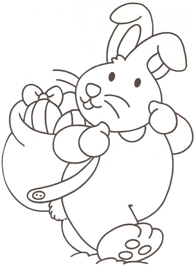 Coloriage et dessins gratuits Lapin porte sur son dos les Oeufs de Pâques à imprimer