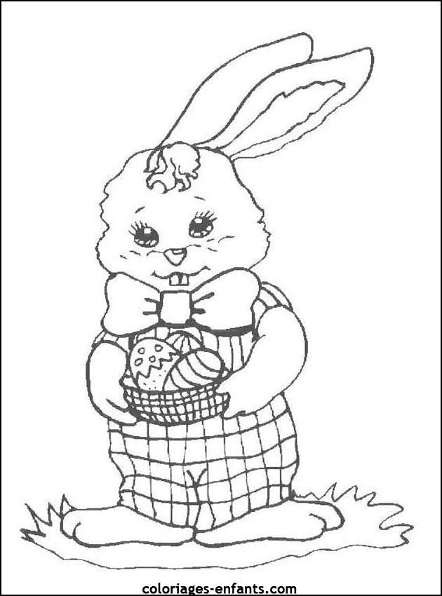 Coloriage et dessins gratuits Lapine avec panier d'oeuf de  Pâques dans ses mains à imprimer