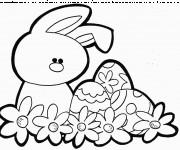 Coloriage et dessins gratuit Lapine et Oeuf de Pâques  vecteur à imprimer