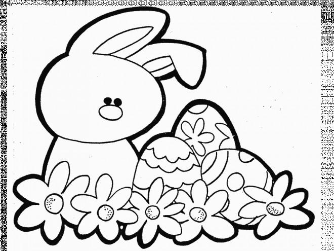 Coloriage et dessins gratuits Lapine et Oeuf de Pâques  vecteur à imprimer