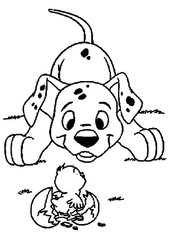 Coloriage et dessins gratuits Le Chien et le Poussin Pâques à imprimer