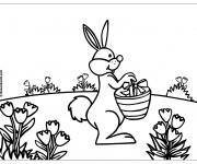 Coloriage Le Lapin apporte les cadeaux de Pâques
