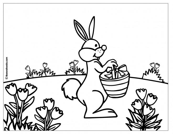 Coloriage et dessins gratuits Le Lapin apporte les cadeaux de Pâques à imprimer