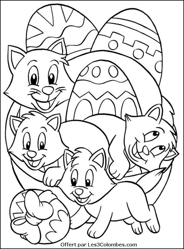 Coloriage et dessins gratuits Les chats et les oeufs de Pâques à imprimer