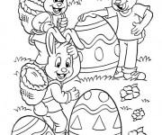 Coloriage Les Lapins collectent les Oeufs de Pâques