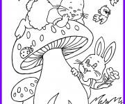 Coloriage Les Lapins s'amusent en plein air