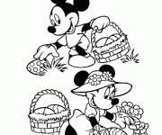 Coloriage Mickey mouse collecte les oeufs de Pâques