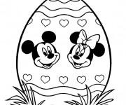 Coloriage Minnie et Mickey Mouse sur Oeuf de Pâques