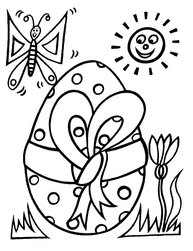 Coloriage Oeuf de Pâques avec le Papillon dessin gratuit à imprimer