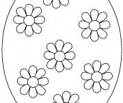 Coloriage Oeuf de Pâques décoré avec des fleurs
