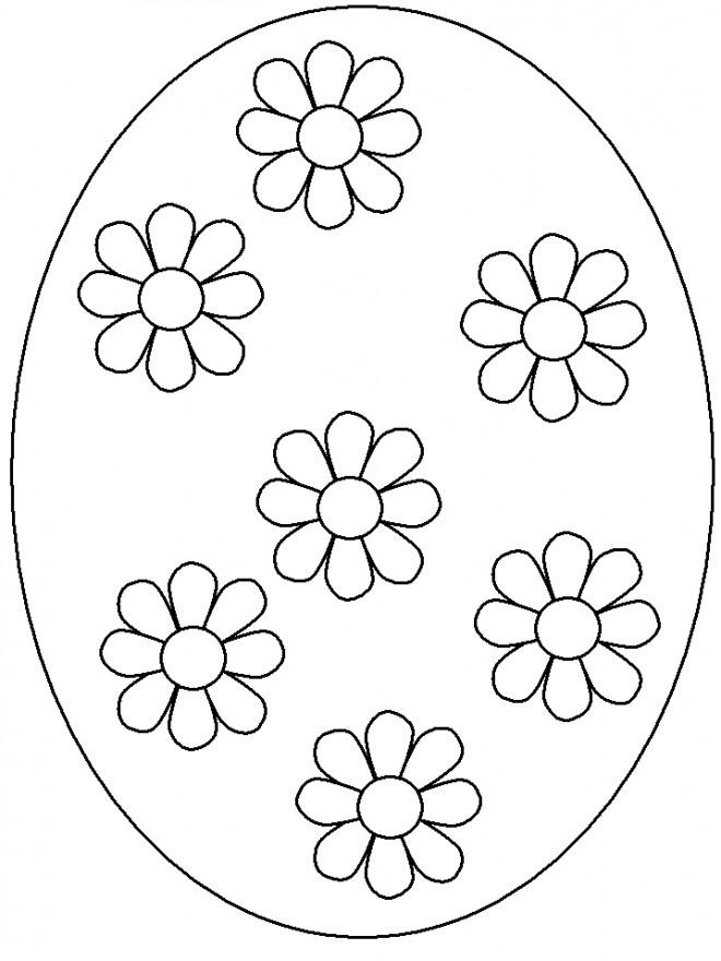 Coloriage et dessins gratuits Oeuf de Pâques décoré avec des fleurs à imprimer