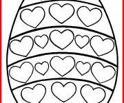 Coloriage Oeuf Pâques avec des coeurs