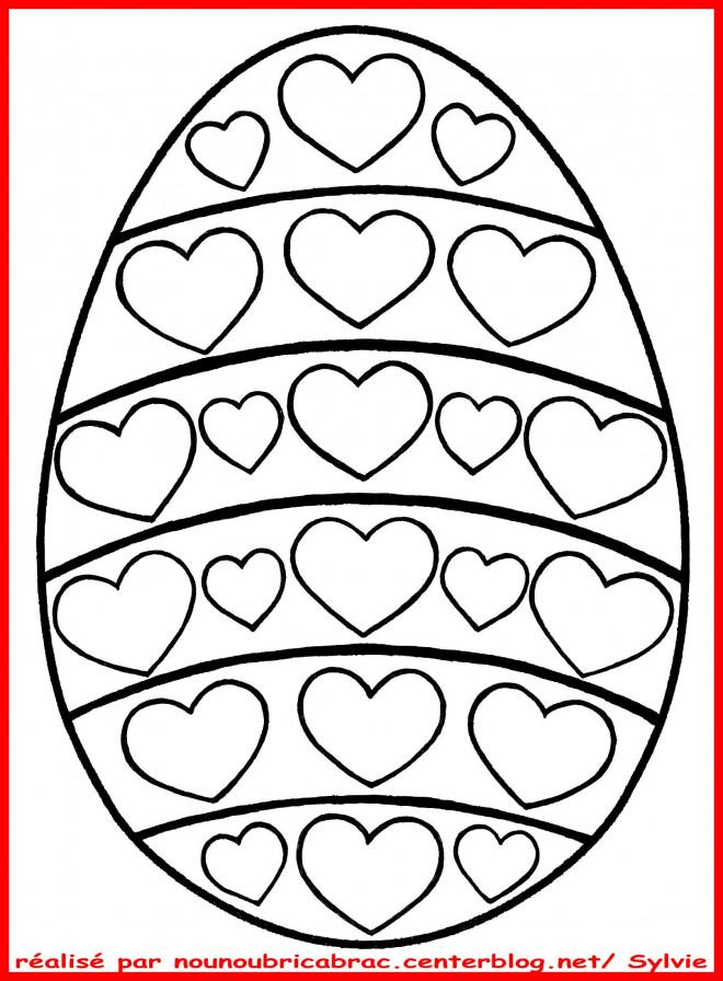 Coloriage oeuf p ques avec des coeurs dessin gratuit imprimer - Dessin de paques a imprimer gratuit ...