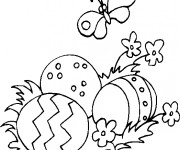 Coloriage Oeufs de Pâques et nature