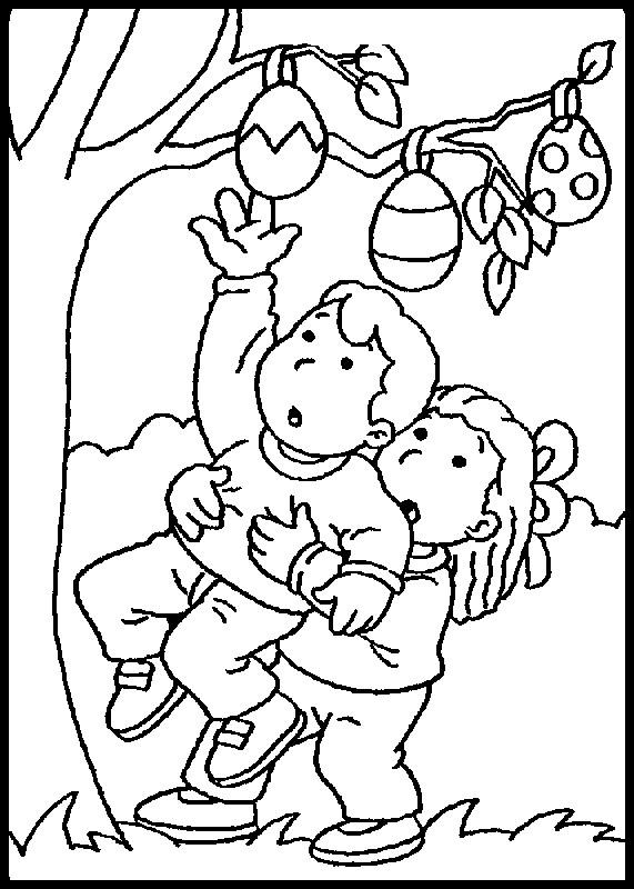Coloriage et dessins gratuits Oeufs de Pâques sur les arbres à imprimer