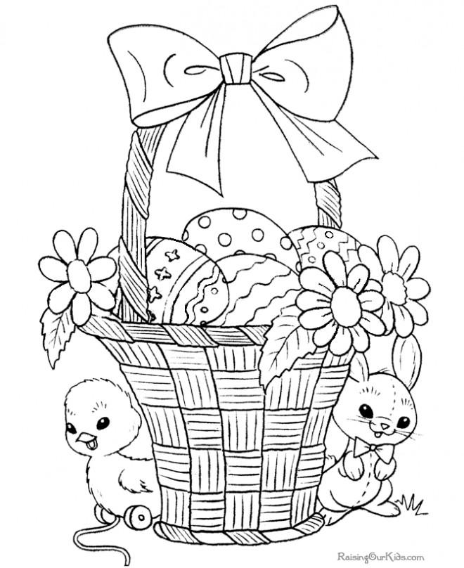 Coloriage et dessins gratuits Panier d'oeufs bien décorés à imprimer
