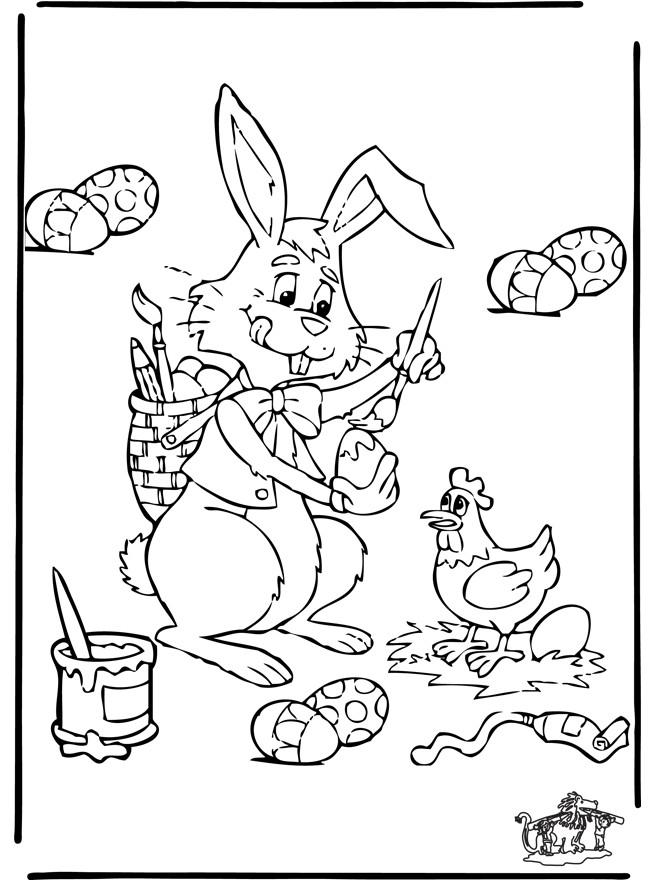 Coloriage et dessins gratuits Peinture d'oeufs de Pâques à imprimer