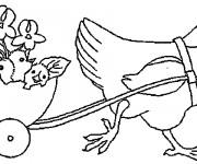 Coloriage Poulet et ses poussins maternelle