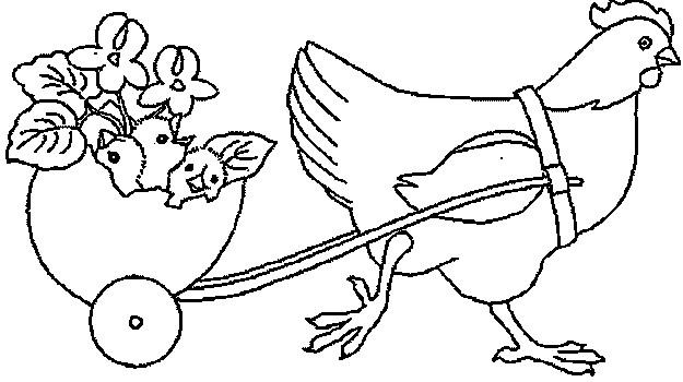 Coloriage et dessins gratuits Poulet et ses poussins maternelle à imprimer