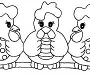 Coloriage Poulets avec Oeufs décorés pour Pâques