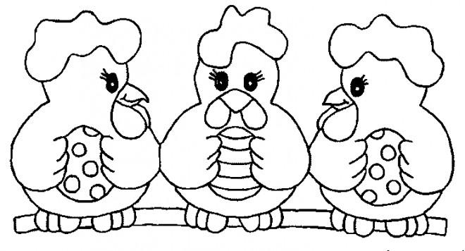 Coloriage et dessins gratuits Poulets avec Oeufs décorés pour Pâques à imprimer