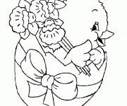 Coloriage Poussin dans Oeuf de Pâques