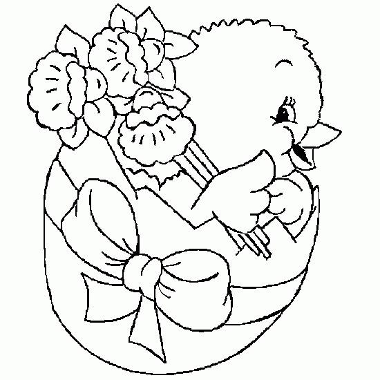 Coloriage et dessins gratuits Poussin dans Oeuf de Pâques à imprimer